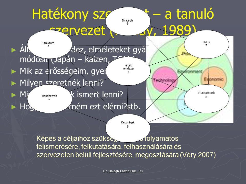 Hatékony szervezet – a tanuló szervezet (Handy, 1989)