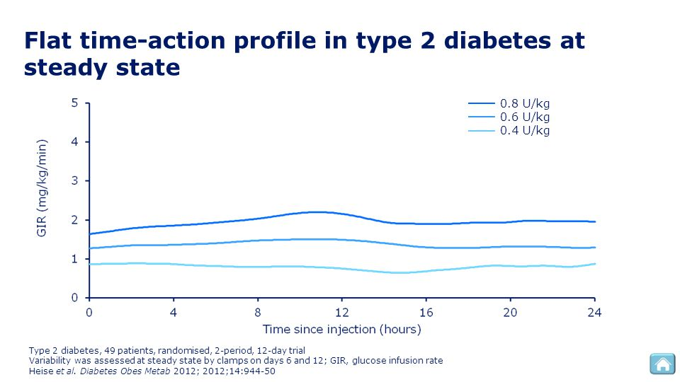 Flat time-action profile in type 2 diabetes at steady state