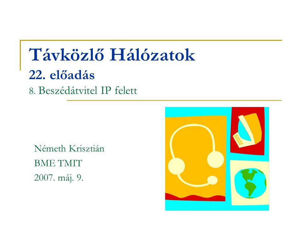 Távközlő Hálózatok 22. előadás 8. Beszédátvitel IP felett
