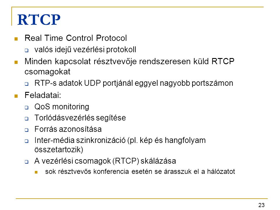 RTCP Real Time Control Protocol