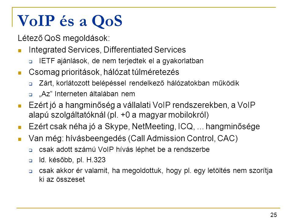 VoIP és a QoS Létező QoS megoldások: