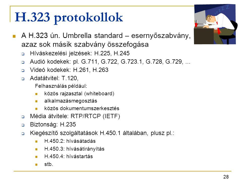 H.323 protokollok A H.323 ún. Umbrella standard – esernyőszabvány, azaz sok másik szabvány összefogása.