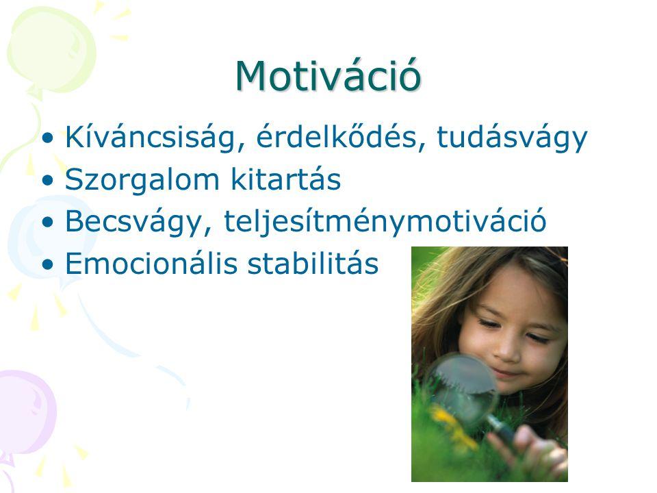 Motiváció Kíváncsiság, érdelkődés, tudásvágy Szorgalom kitartás