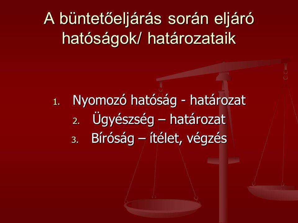 A büntetőeljárás során eljáró hatóságok/ határozataik