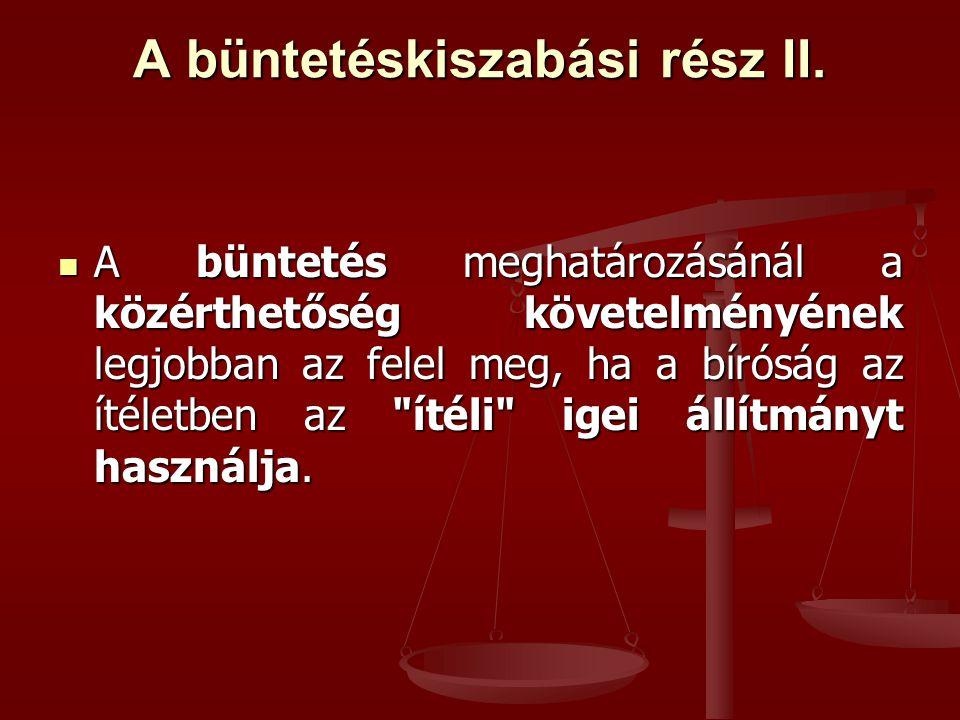 A büntetéskiszabási rész II.