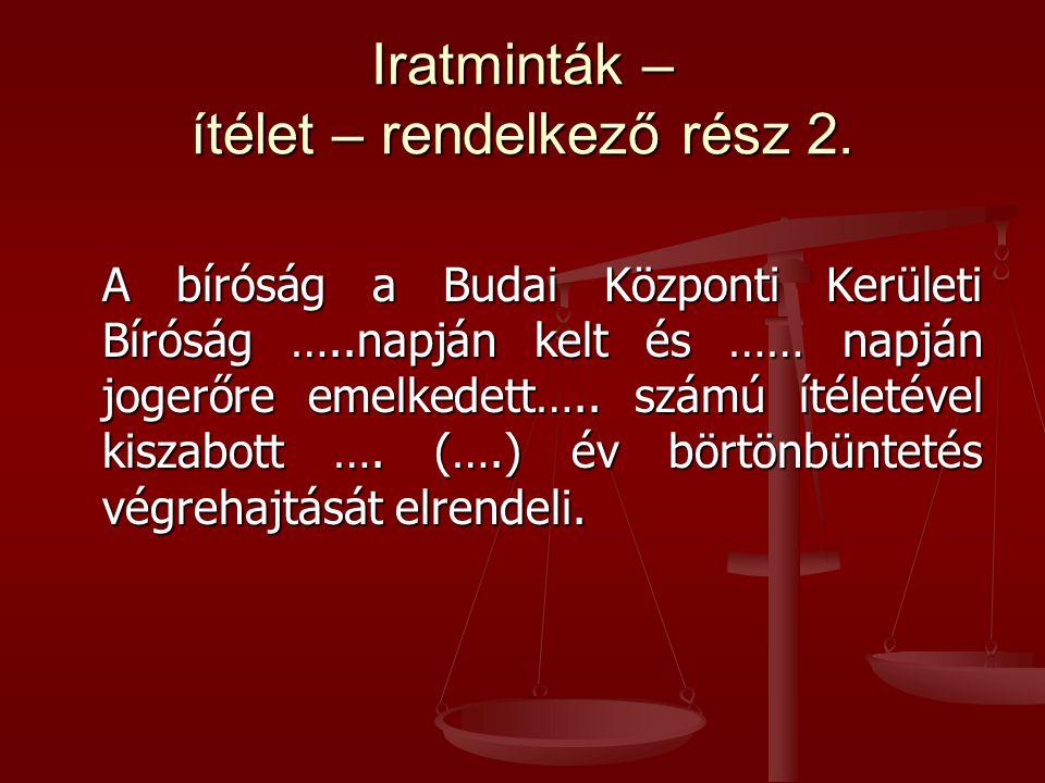 Iratminták – ítélet – rendelkező rész 2.