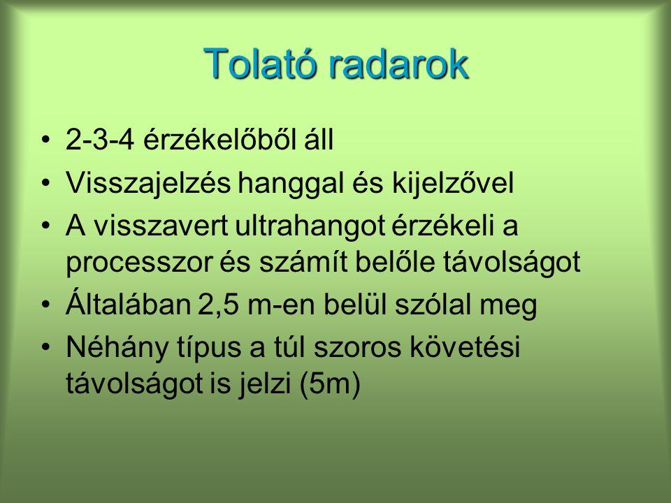 Tolató radarok 2-3-4 érzékelőből áll