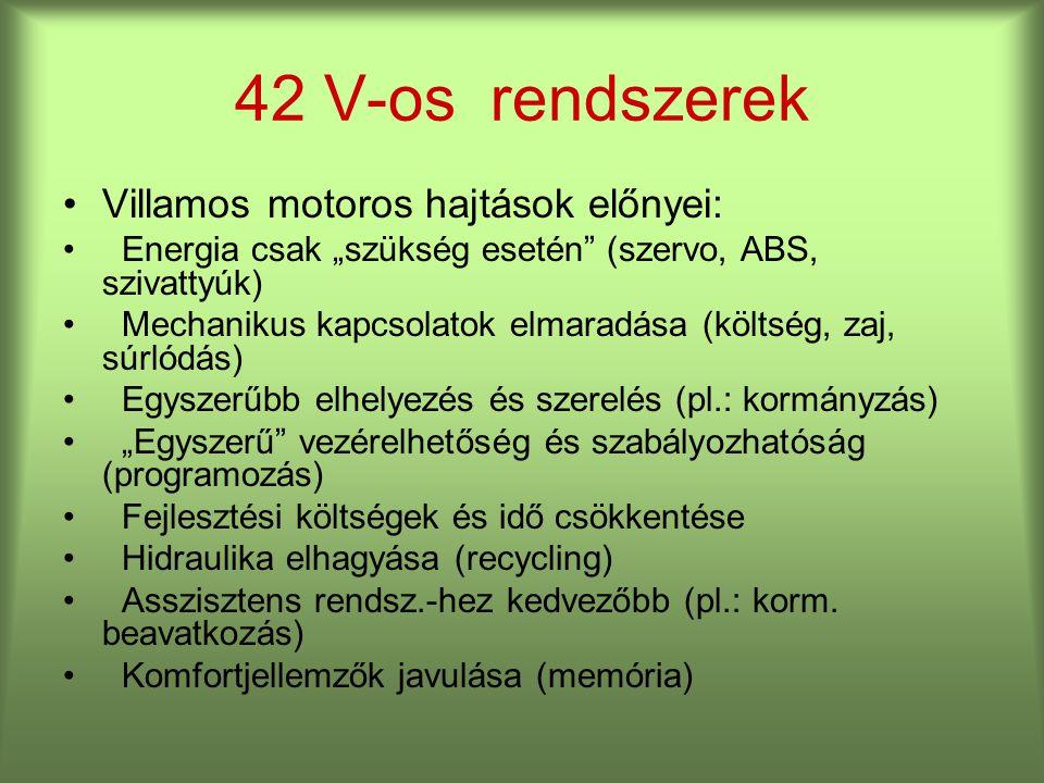 42 V-os rendszerek Villamos motoros hajtások előnyei: