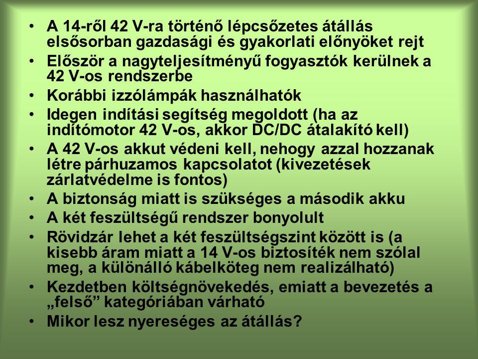 A 14-ről 42 V-ra történő lépcsőzetes átállás elsősorban gazdasági és gyakorlati előnyöket rejt