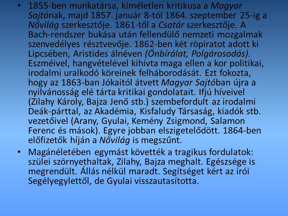 1855-ben munkatársa, kíméletlen kritikusa a Magyar Sajtónak, majd 1857