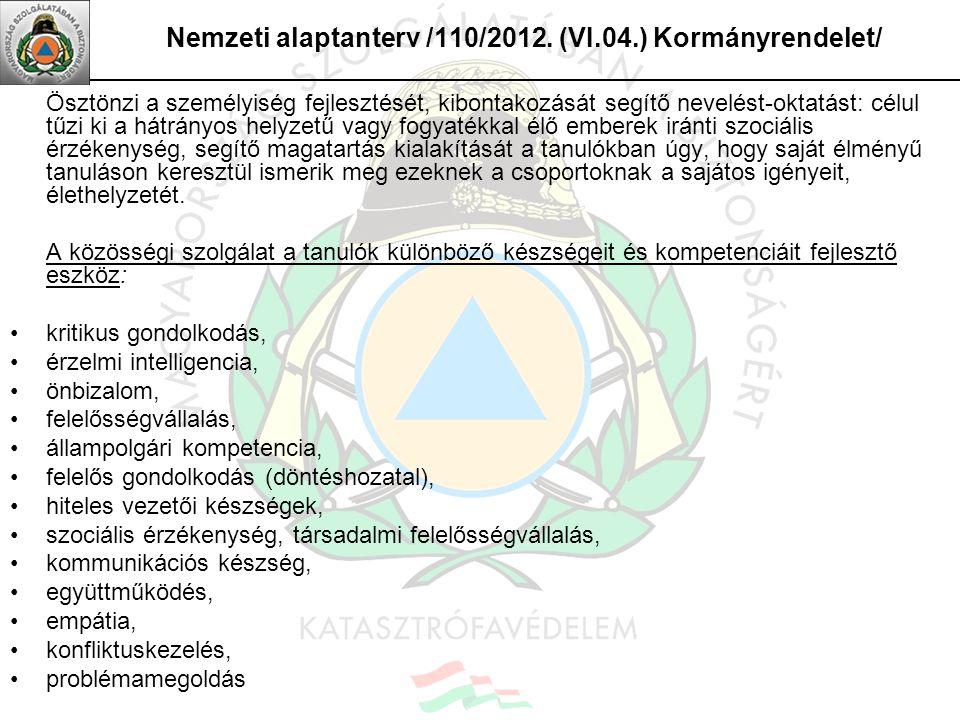Nemzeti alaptanterv /110/2012. (VI.04.) Kormányrendelet/