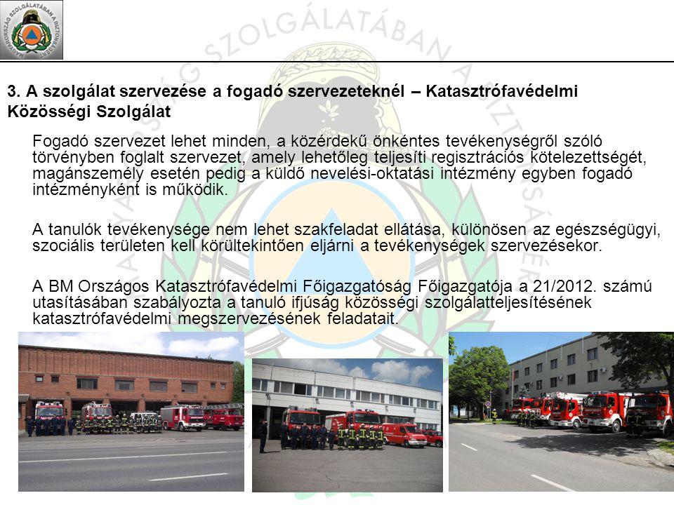 3. A szolgálat szervezése a fogadó szervezeteknél – Katasztrófavédelmi Közösségi Szolgálat