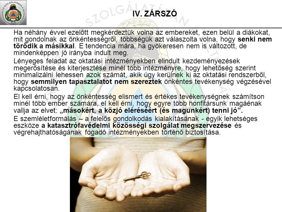 IV. ZÁRSZÓ