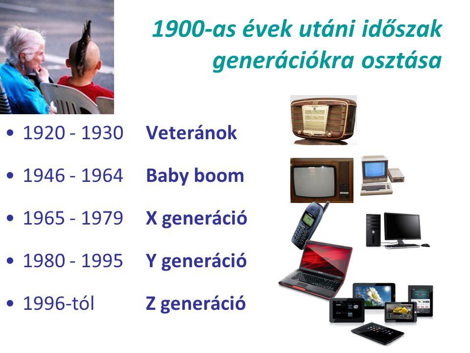 1900-as évek utáni időszak generációkra osztása