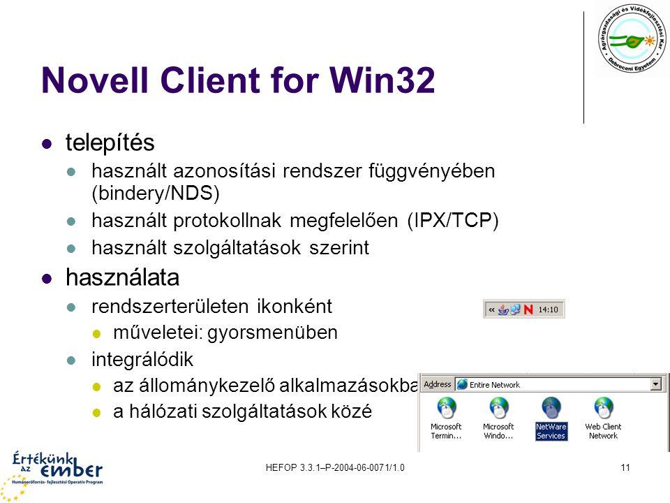 Novell Client for Win32 telepítés használata