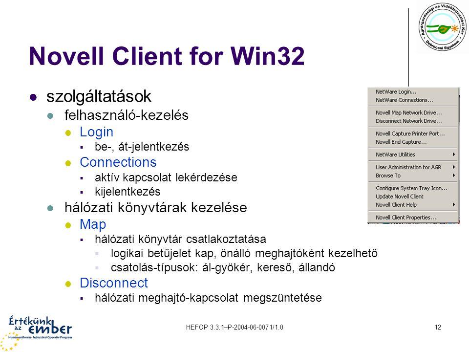 Novell Client for Win32 szolgáltatások felhasználó-kezelés