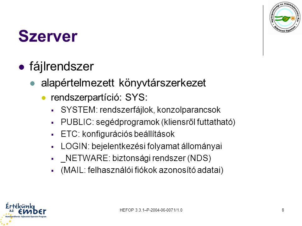 Szerver fájlrendszer alapértelmezett könyvtárszerkezet
