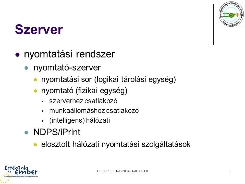 Szerver nyomtatási rendszer nyomtató-szerver NDPS/iPrint