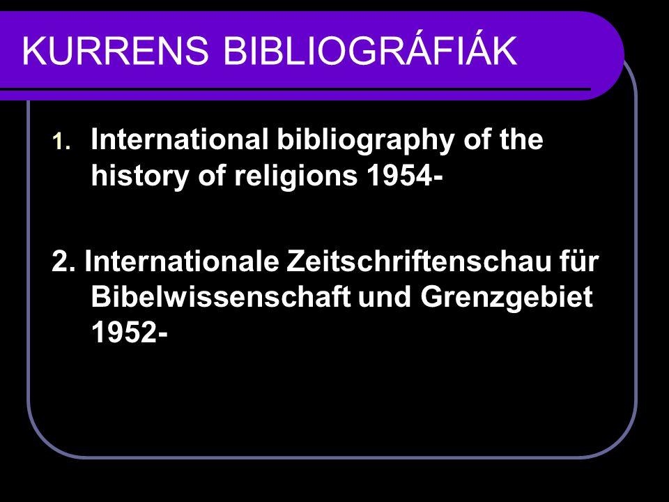 KURRENS BIBLIOGRÁFIÁK