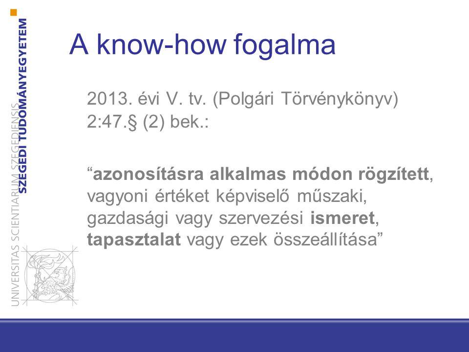 A know-how fogalma 2013. évi V. tv. (Polgári Törvénykönyv) 2:47.§ (2) bek.: