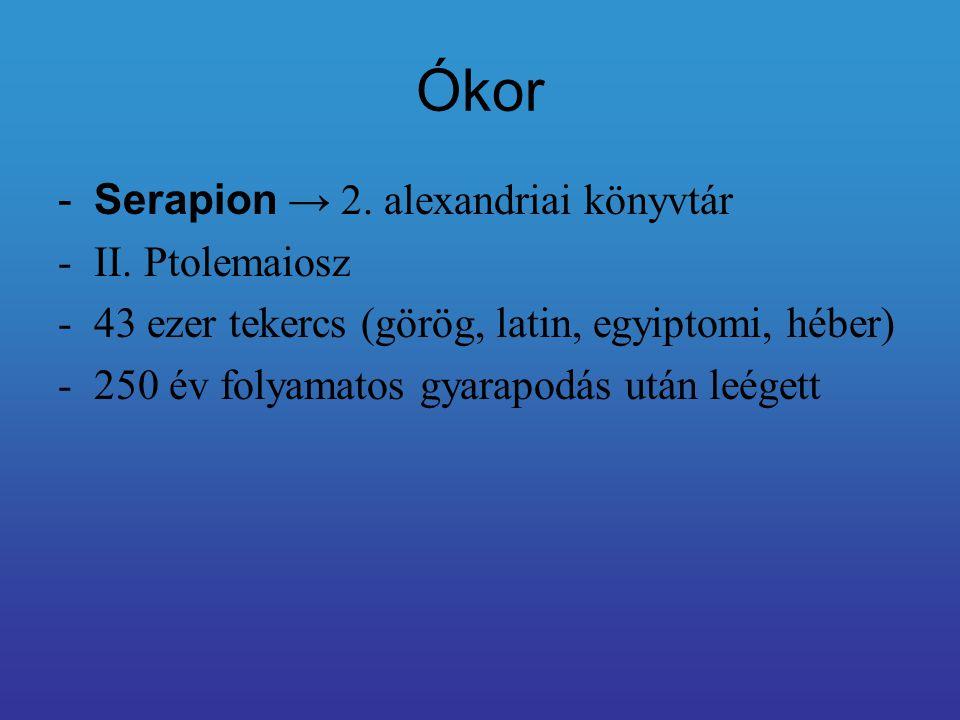 Ókor Serapion → 2. alexandriai könyvtár II. Ptolemaiosz