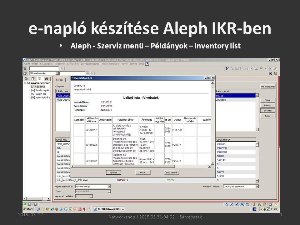 e-napló készítése Aleph IKR-ben