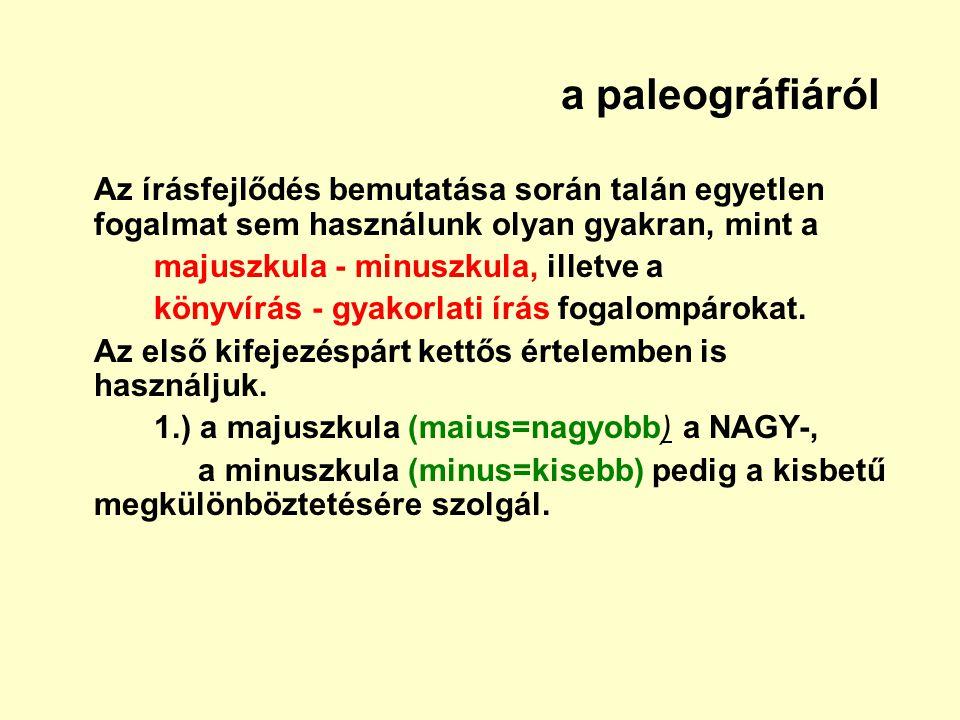 a paleográfiáról Az írásfejlődés bemutatása során talán egyetlen fogalmat sem használunk olyan gyakran, mint a.
