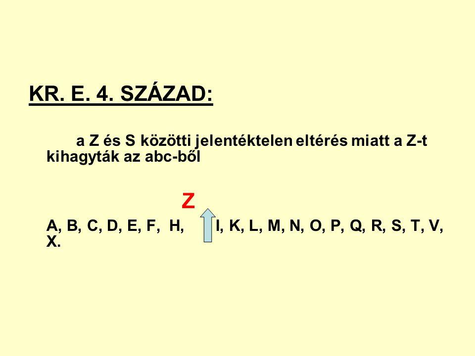 KR. E. 4. SZÁZAD: a Z és S közötti jelentéktelen eltérés miatt a Z-t kihagyták az abc-ből. Z.