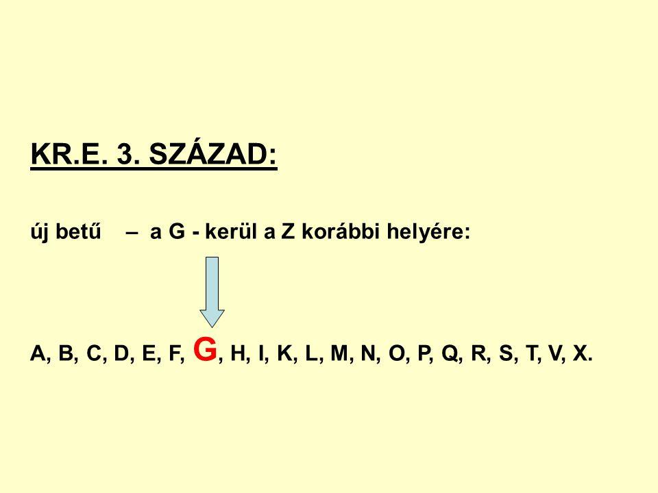 KR.E. 3. SZÁZAD: új betű – a G - kerül a Z korábbi helyére: