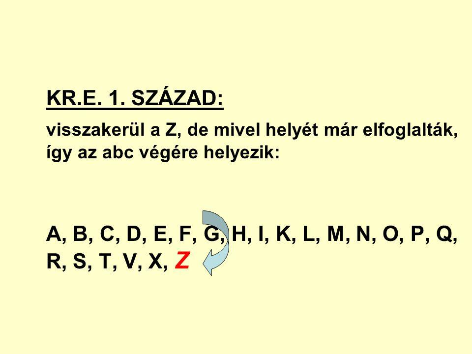 KR.E. 1. SZÁZAD: visszakerül a Z, de mivel helyét már elfoglalták, így az abc végére helyezik: