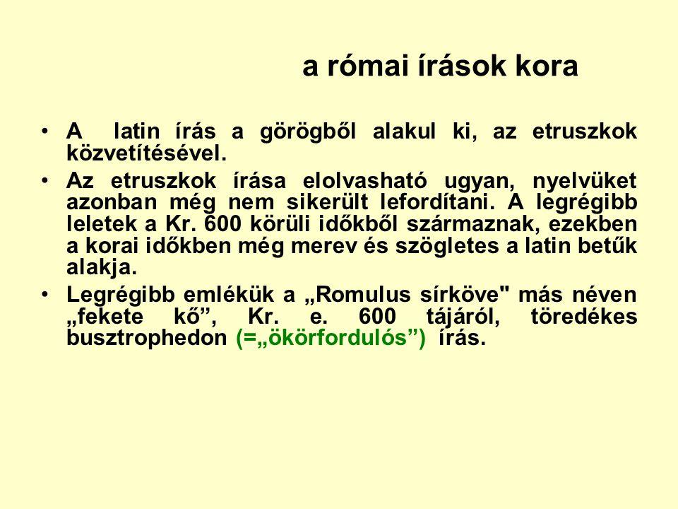 a római írások kora A latin írás a görögből alakul ki, az etruszkok közvetítésével.