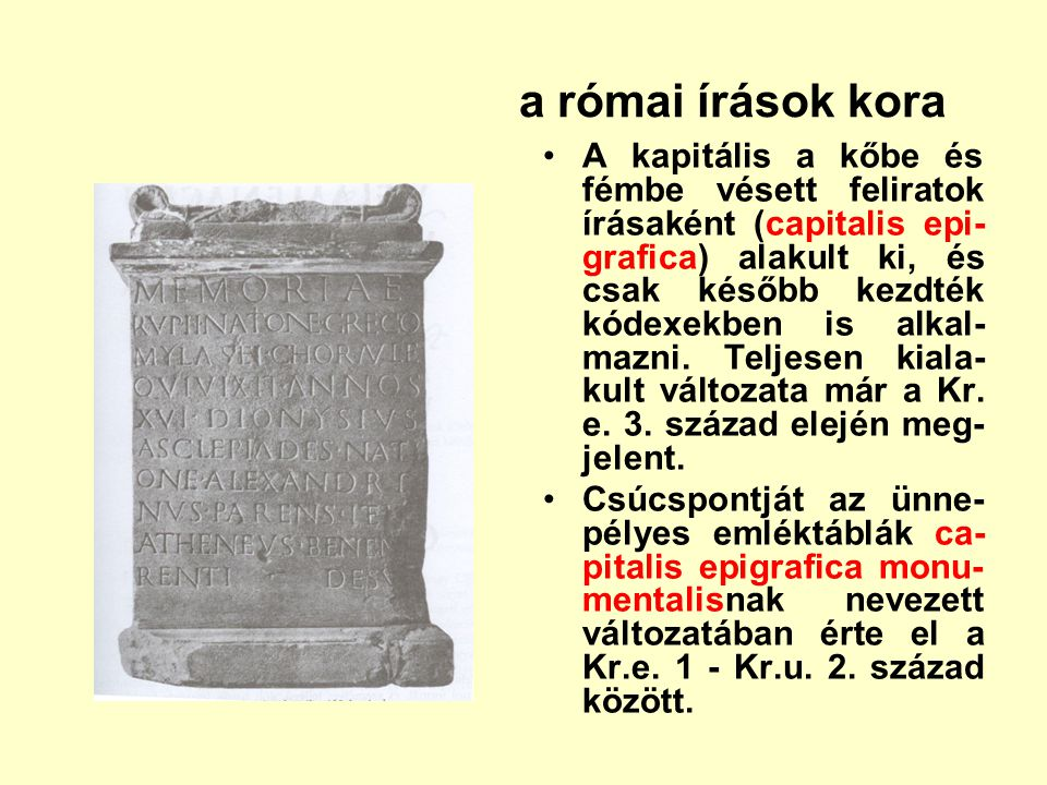 a római írások kora