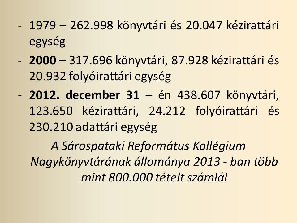 1979 – 262.998 könyvtári és 20.047 kézirattári egység