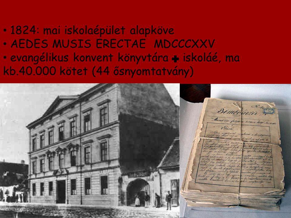 1824: mai iskolaépület alapköve