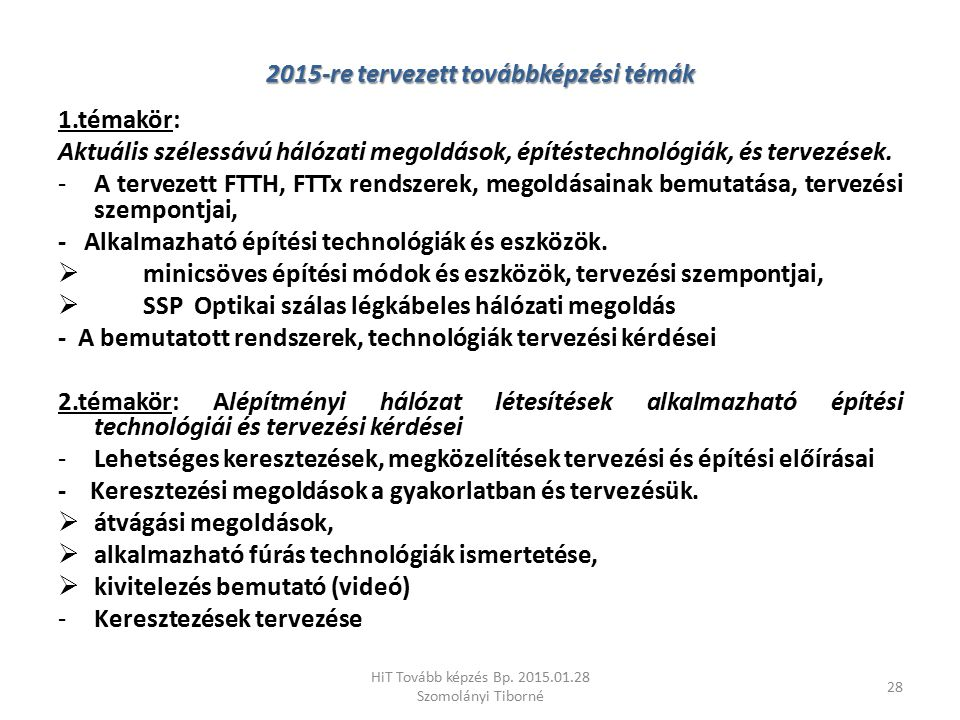 2015-re tervezett továbbképzési témák
