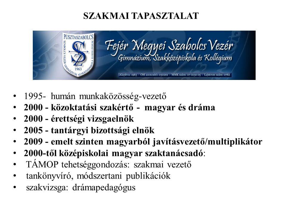 SZAKMAI TAPASZTALAT 1995- humán munkaközösség-vezető 2000 - közoktatási szakértő - magyar és dráma.