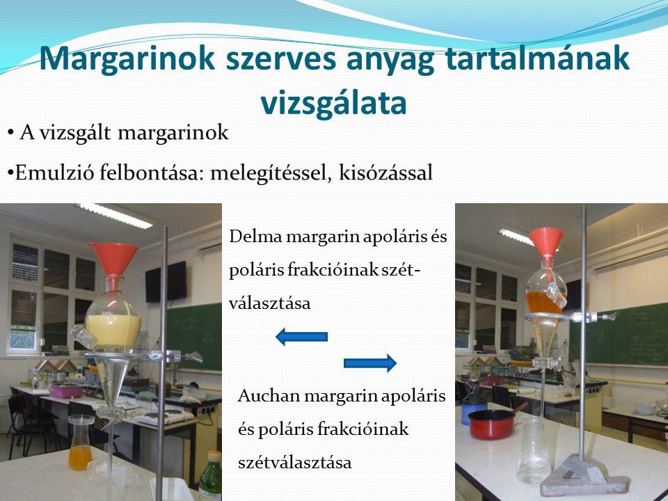 Margarinok szerves anyag tartalmának vizsgálata
