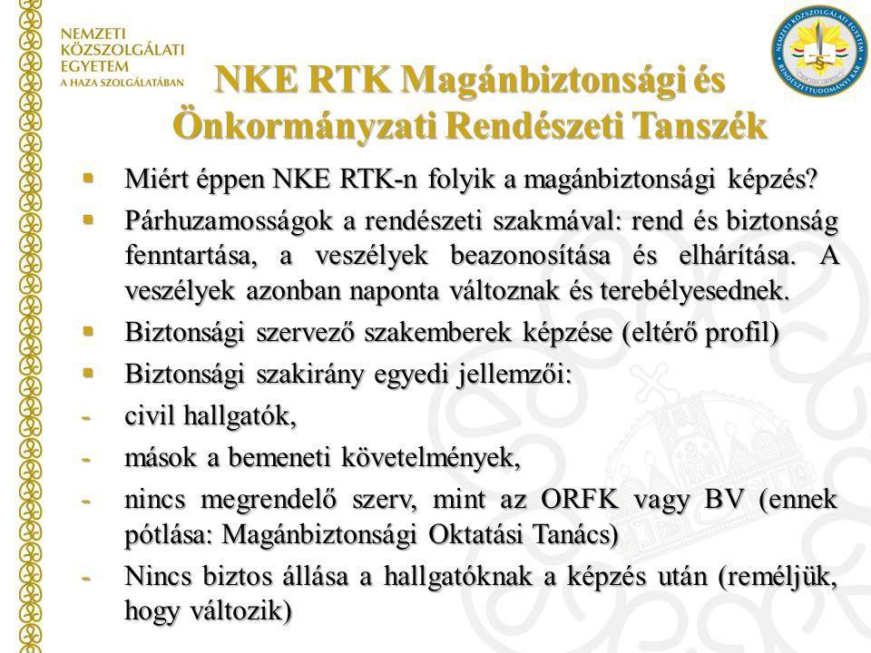 NKE RTK Magánbiztonsági és Önkormányzati Rendészeti Tanszék