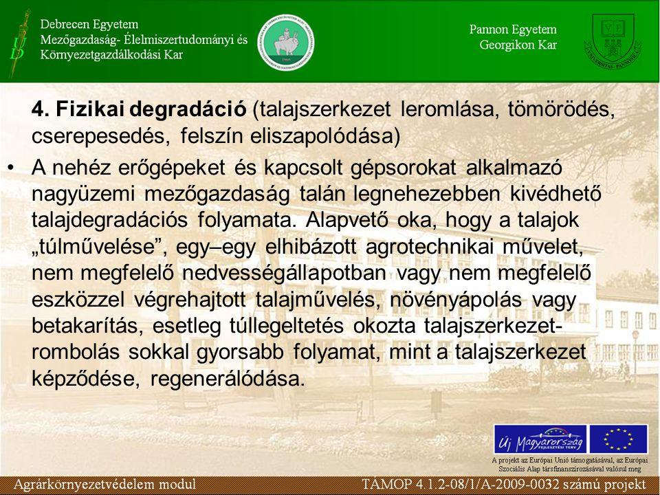 4. Fizikai degradáció (talajszerkezet leromlása, tömörödés, cserepesedés, felszín eliszapolódása)