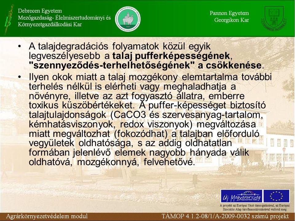 A talajdegradációs folyamatok közül egyik legveszélyesebb a talaj pufferképességének, szennyeződés-terhelhetőségének a csökkenése.