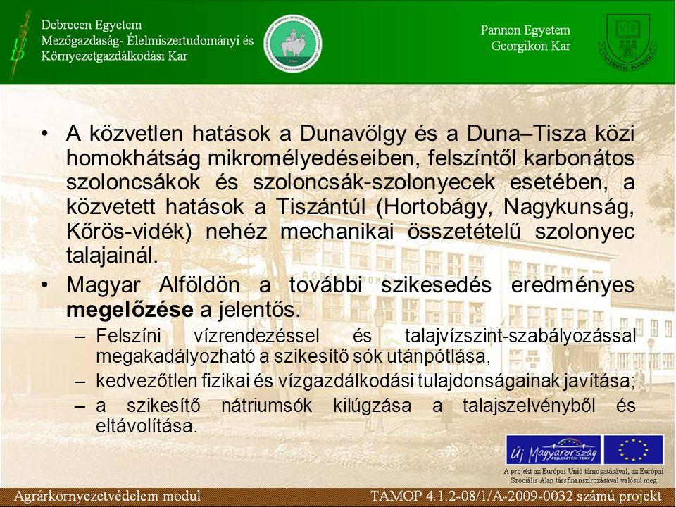 Magyar Alföldön a további szikesedés eredményes megelőzése a jelentős.