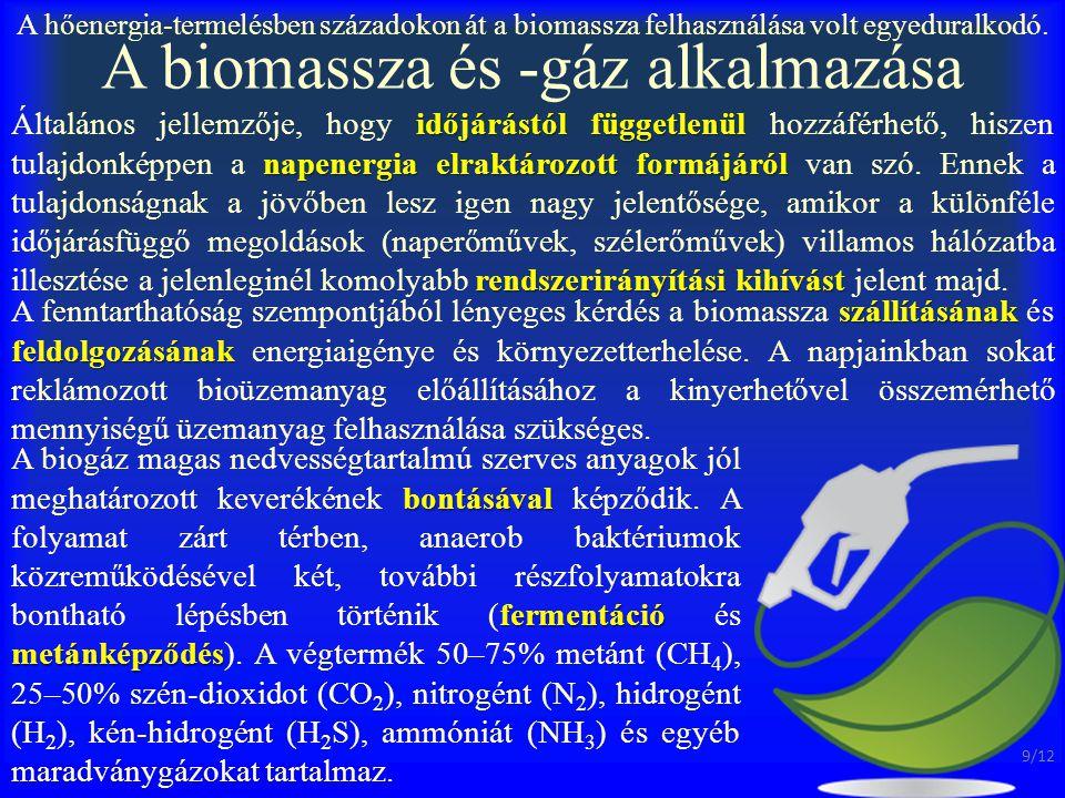 A biomassza és -gáz alkalmazása