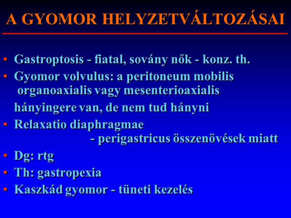A GYOMOR HELYZETVÁLTOZÁSAI