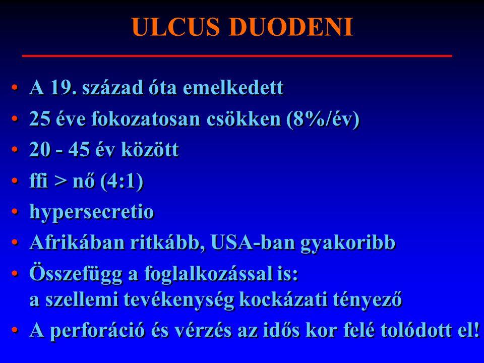 ULCUS DUODENI A 19. század óta emelkedett