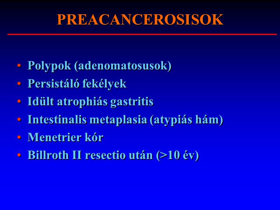 PREACANCEROSISOK Polypok (adenomatosusok) Persistáló fekélyek