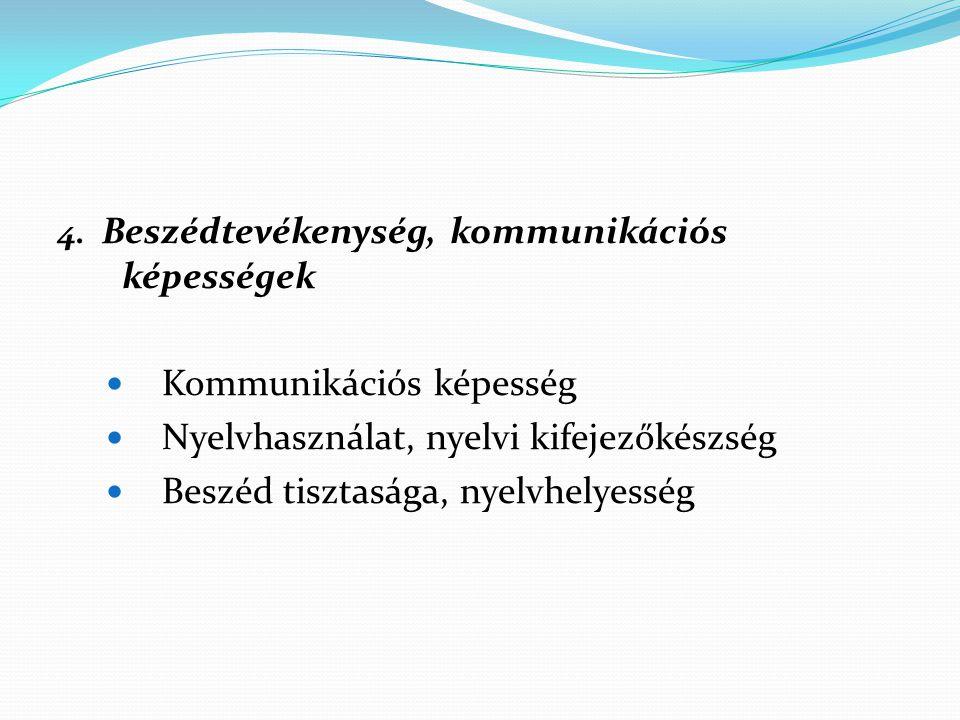 Kommunikációs képesség Nyelvhasználat, nyelvi kifejezőkészség
