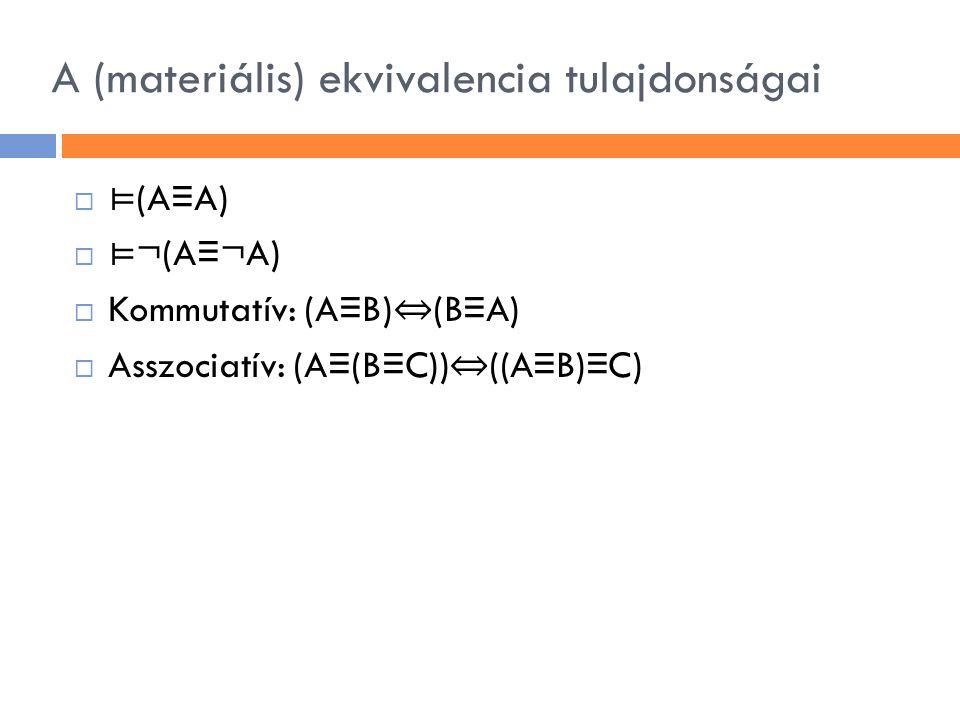 A (materiális) ekvivalencia tulajdonságai