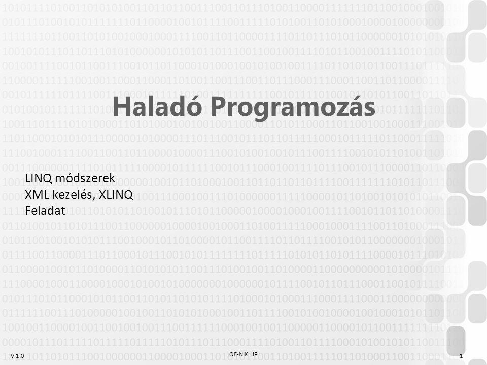 LINQ módszerek XML kezelés, XLINQ Feladat