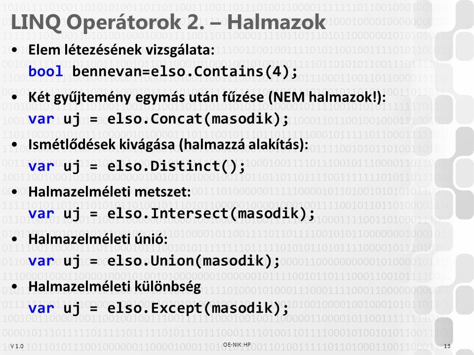 LINQ Operátorok 2. – Halmazok