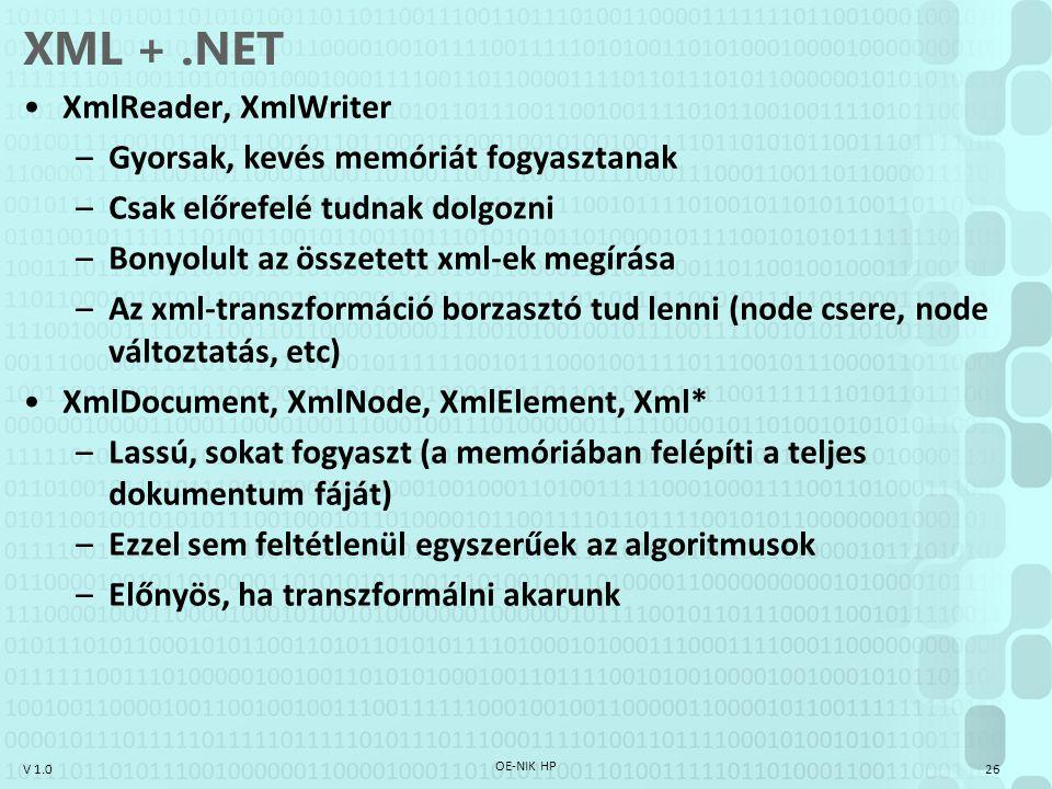 XML + .NET XmlReader, XmlWriter Gyorsak, kevés memóriát fogyasztanak